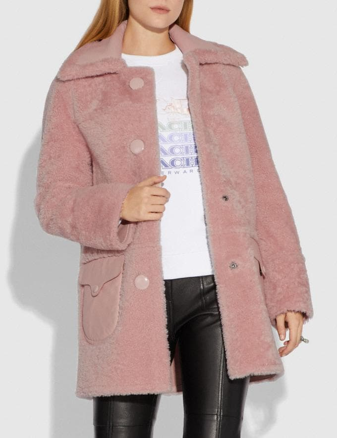 Coach Reversible Shearling Coat Powder Pink  Alternate View 3
