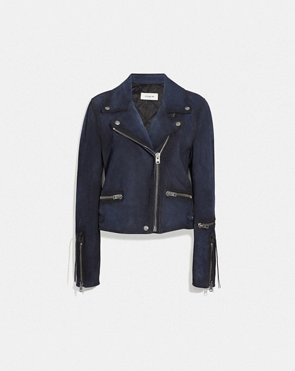 Coach BURNISHED SUEDE MOTO JACKET