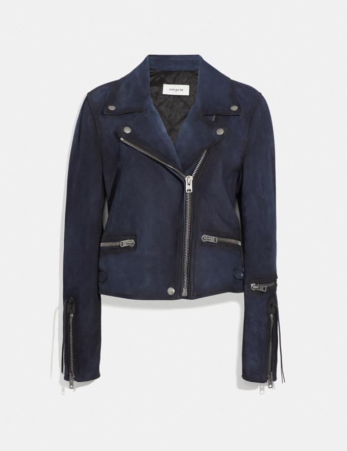 Coach Burnished Suede Moto Jacket Navy SALE Women's Sale Ready-to-Wear