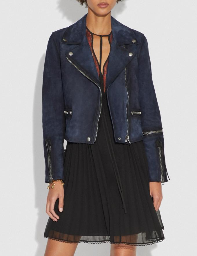 Coach Burnished Suede Moto Jacket Navy SALE Women's Sale Ready-to-Wear Alternate View 1