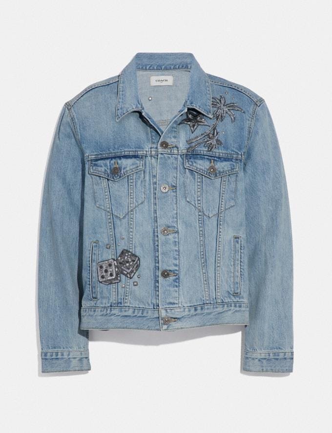 Coach Embellished Denim Jacket Blue