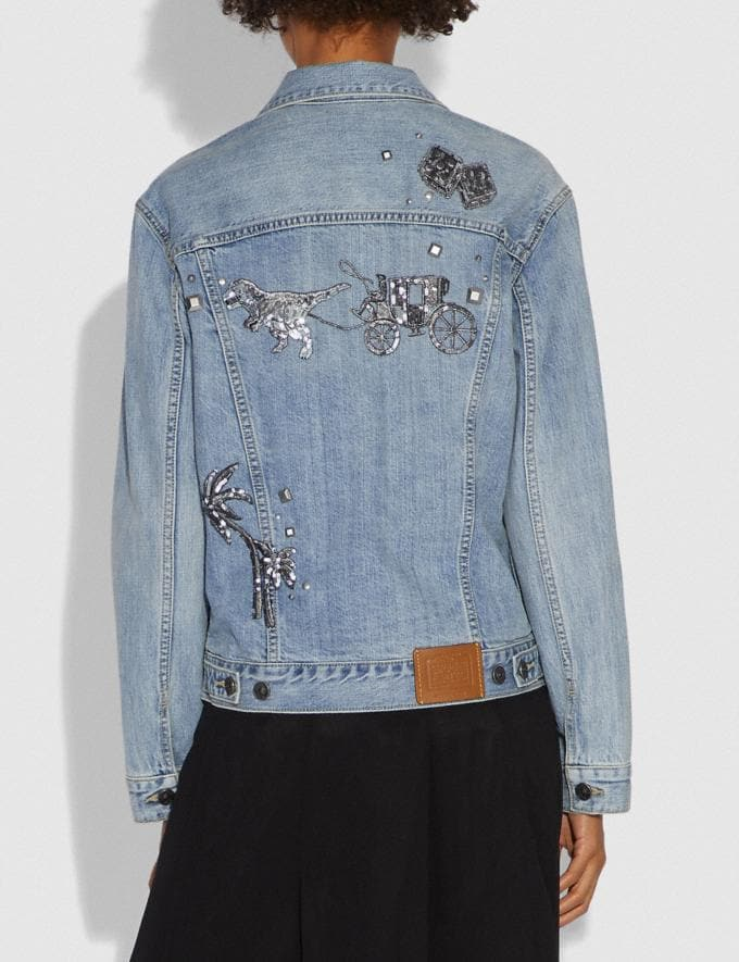 Coach Embellished Denim Jacket Blue Women Ready-to-Wear Coats & Jackets Alternate View 2