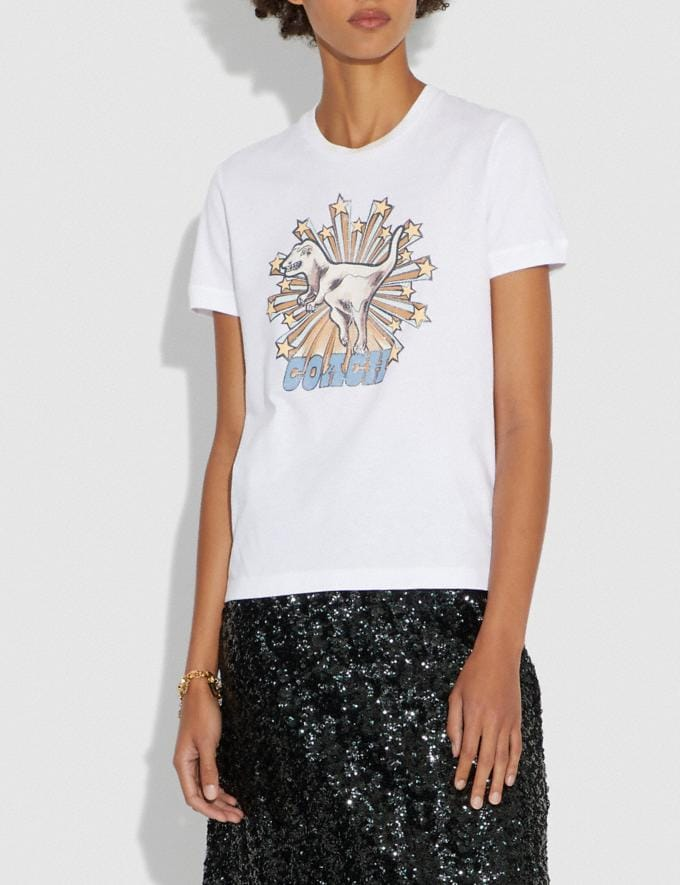 Coach Rexy Star T-Shirt Optic White New Featured Online Exclusives Alternate View 1