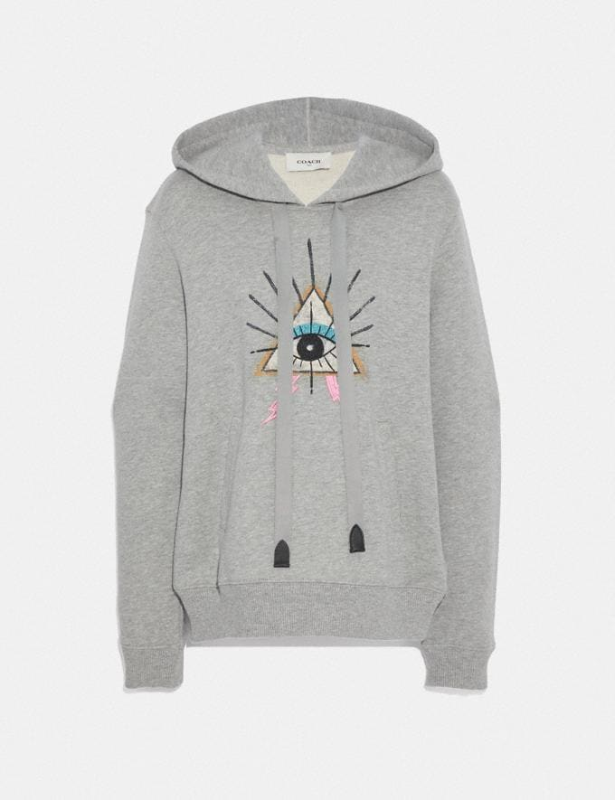 Coach Pyramid Eye Hoodie Grey Women Ready-to-Wear Tops