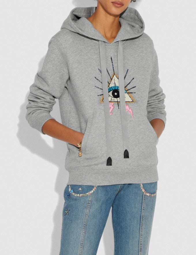 Coach Pyramid Eye Hoodie Grey Women Ready-to-Wear Tops Alternate View 1