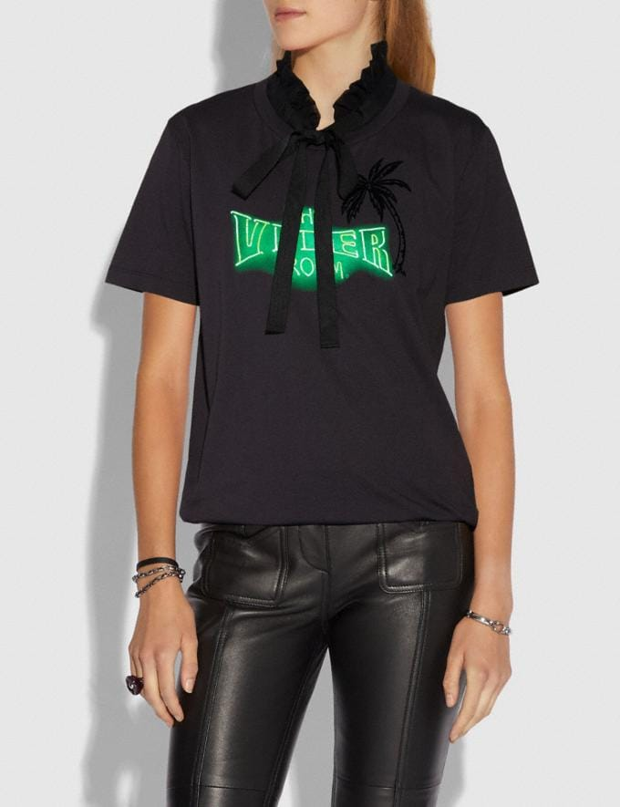 Coach Viper Room Neon T-Shirt With Ruffled Collar Dark Shadow SALE Women's Sale Ready-to-Wear Alternate View 1