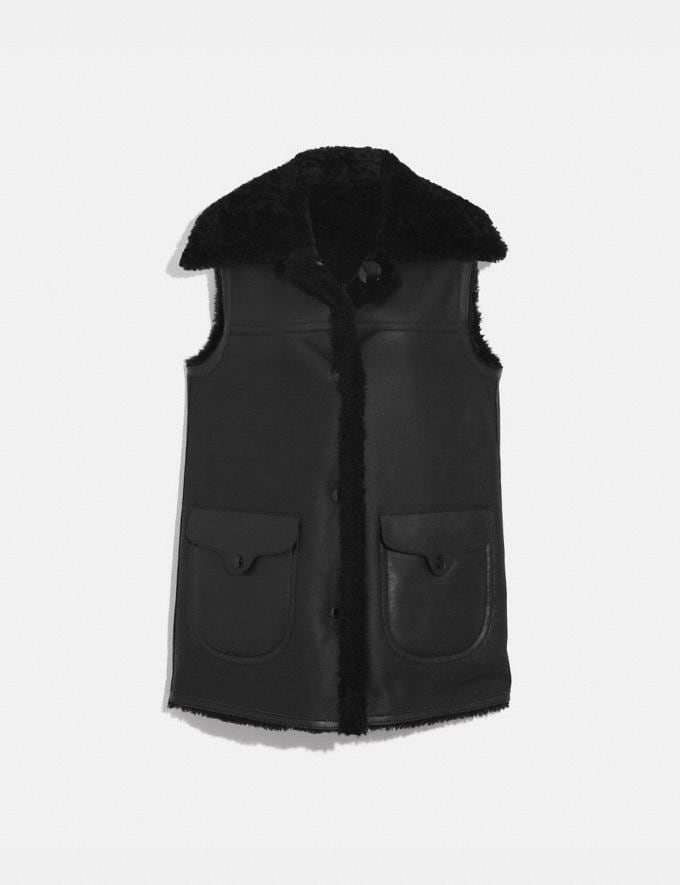 Coach Reversible Shearling Vest Black/Black SALE Women's Sale Ready-to-Wear