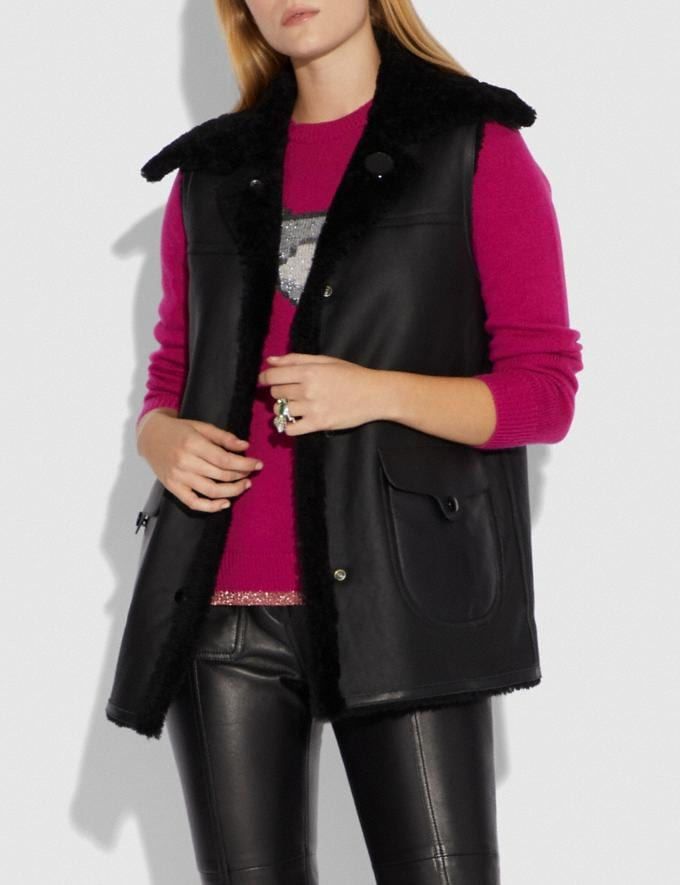 Coach Reversible Shearling Vest Black/Black SALE Women's Sale Ready-to-Wear Alternate View 1