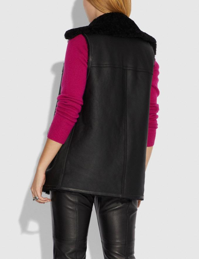Coach Reversible Shearling Vest Black/Black SALE Women's Sale Ready-to-Wear Alternate View 2