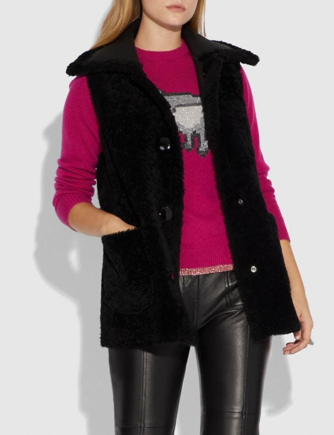 Coach Reversible Shearling Vest Black/Black SALE Women's Sale Ready-to-Wear Alternate View 3