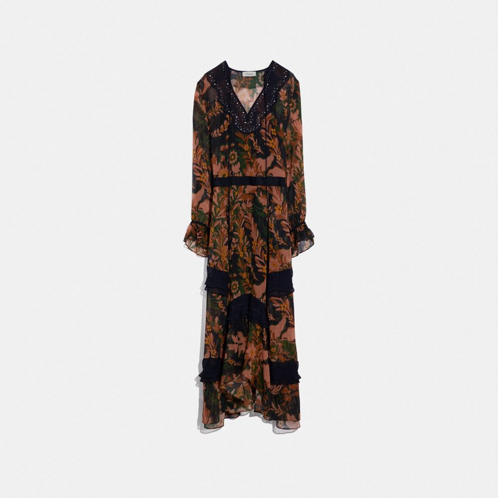 Coach Long Embellished Forest Floral Print Dress