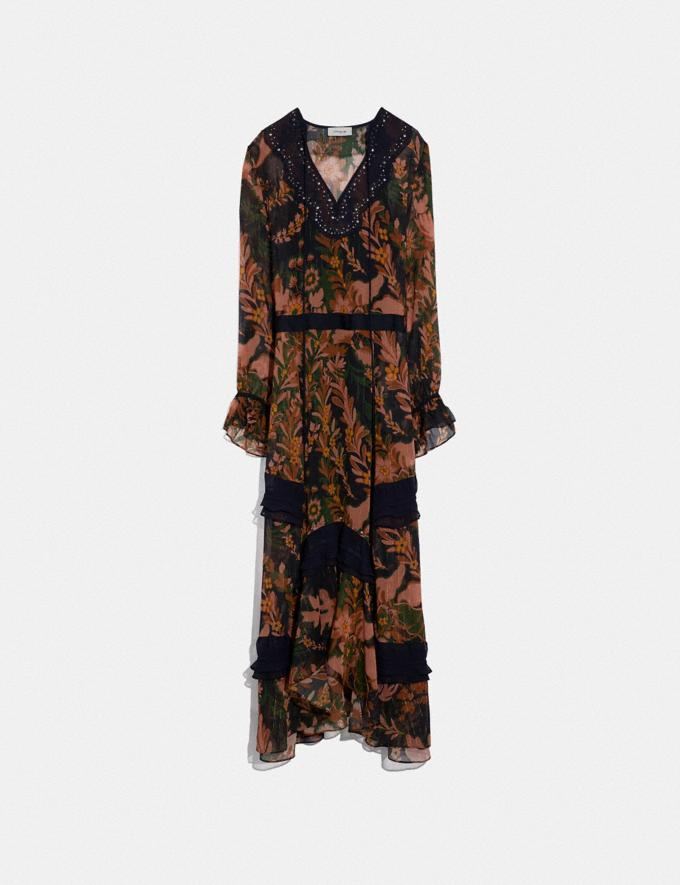 Coach Long Embellished Forest Floral Print Dress Green/Peach
