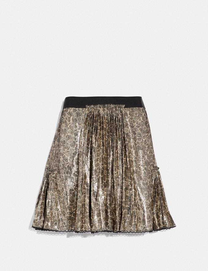 Coach Mixed Print Pleated Skirt Gold Women Ready-to-Wear Bottoms