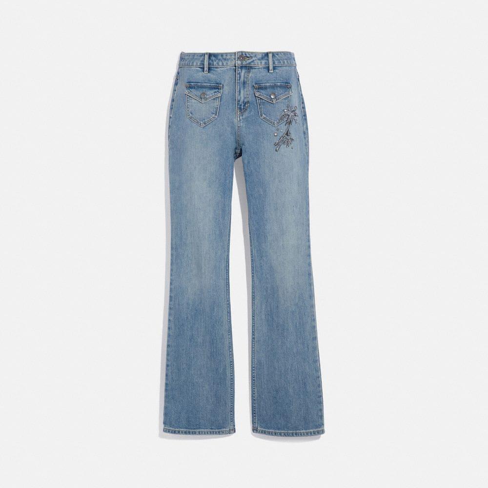 embellished denim pants