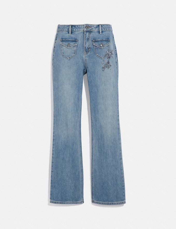 Coach Embellished Denim Pants Blue Women Ready-to-Wear Bottoms