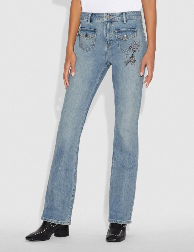 Coach Embellished Denim Pants Blue Women Ready-to-Wear Bottoms Alternate View 1