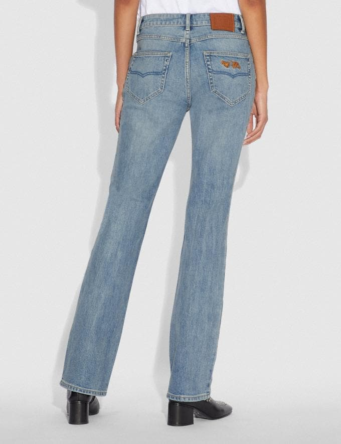 Coach Embellished Denim Pants Blue Women Ready-to-Wear Bottoms Alternate View 2