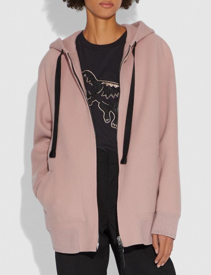 Coach Luxury Wool Hoodie Blush SALE Women's Sale Ready-to-Wear Alternate View 1