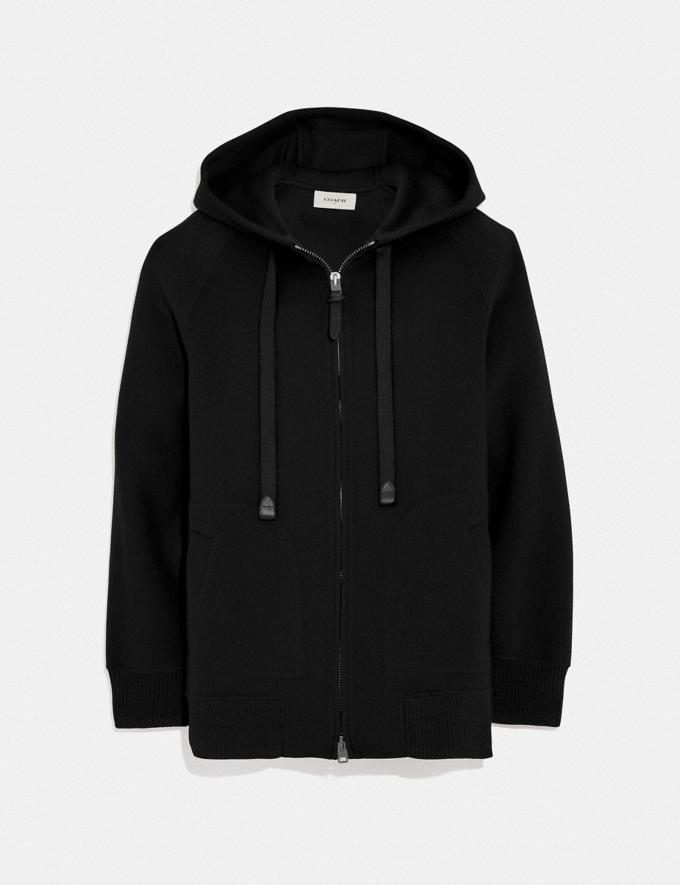 Coach Luxury Wool Hoodie Black New Women's New Arrivals Ready-to-Wear