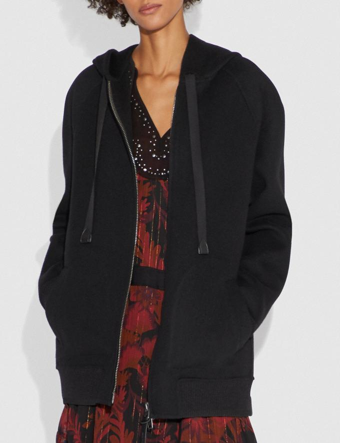 Coach Luxury Wool Hoodie Black New Women's New Arrivals Ready-to-Wear Alternate View 1