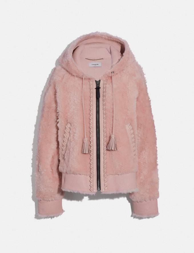 Coach Shearling Hoodie Pink Women Ready-to-Wear Coats & Jackets