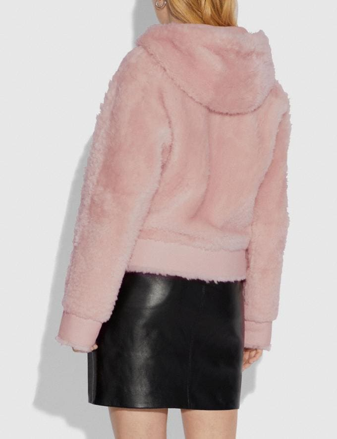 Coach Shearling Hoodie Pink Women Ready-to-Wear Coats & Jackets Alternate View 2
