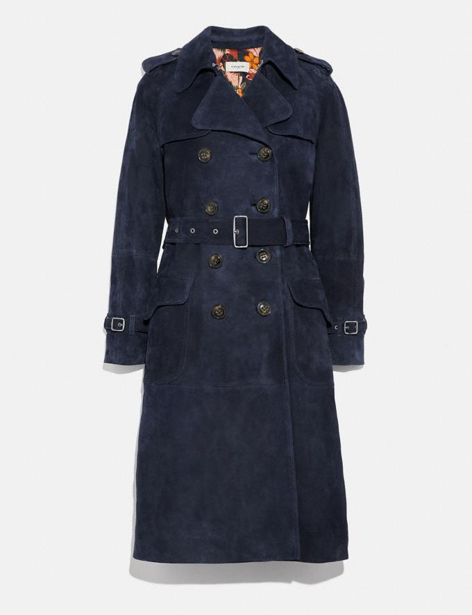 Coach Suede Trench With Printed Lining Navy SALE Women's Sale Ready-to-Wear