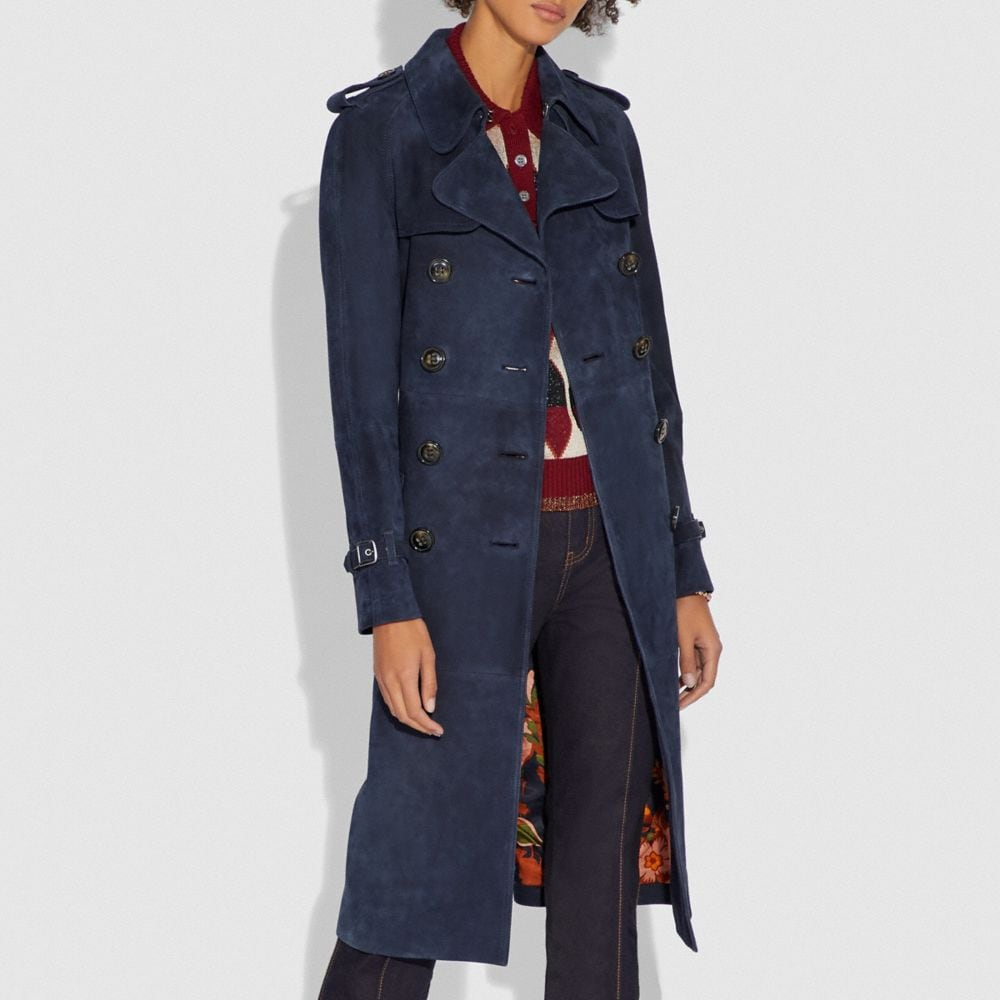 Coach Suede Trench With Printed Lining Alternate View 1