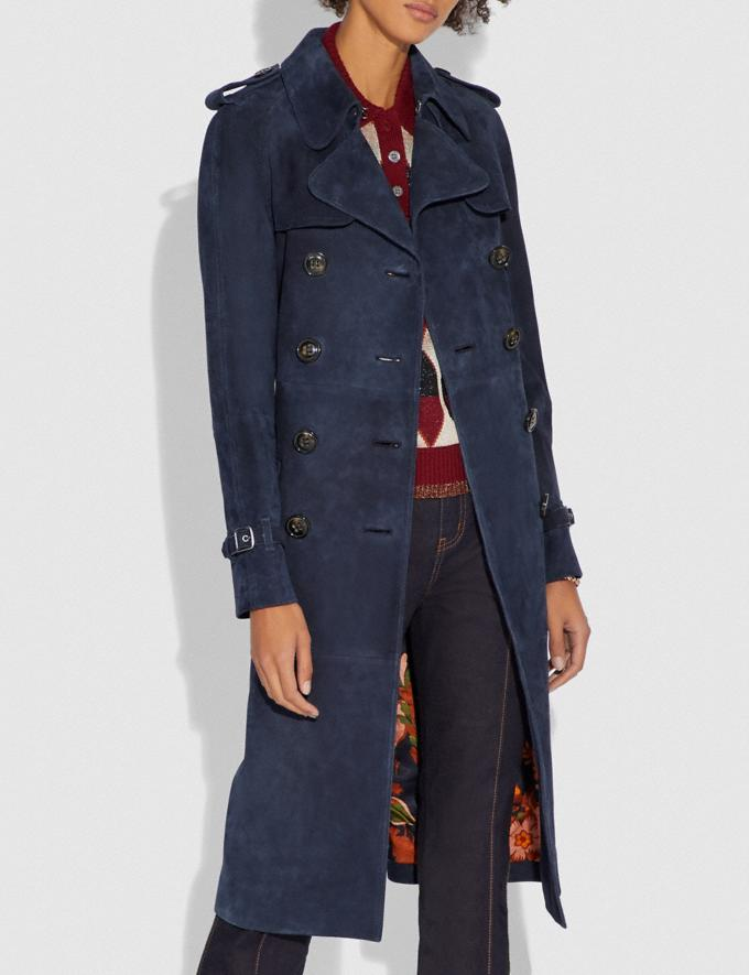 Coach Suede Trench With Printed Lining Navy SALE Women's Sale Ready-to-Wear Alternate View 1