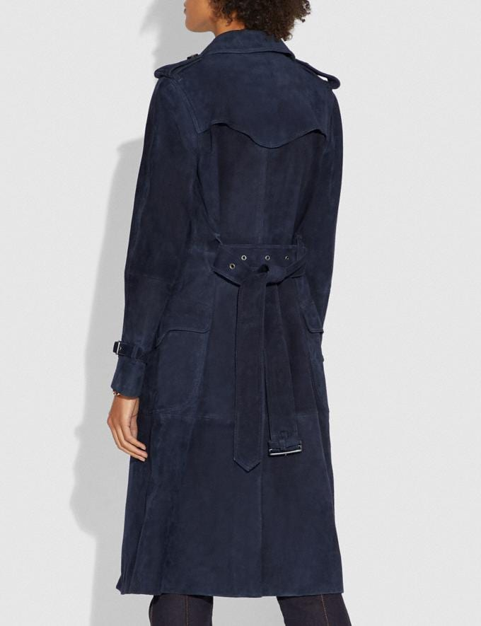 Coach Suede Trench With Printed Lining Navy SALE Women's Sale Ready-to-Wear Alternate View 2