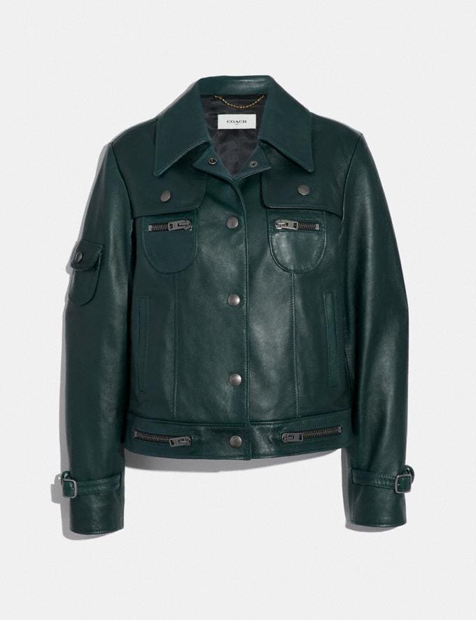 Coach Leather Jacket Forest Green
