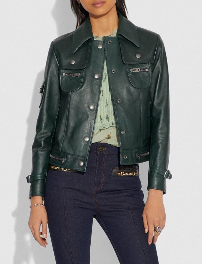 Coach Leather Jacket Forest Green  Alternate View 1