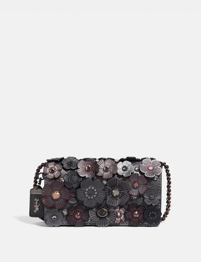 Coach Dinky With Crystal Tea Rose Metallic Graphite/Pewter Women Bags Crossbody Bags