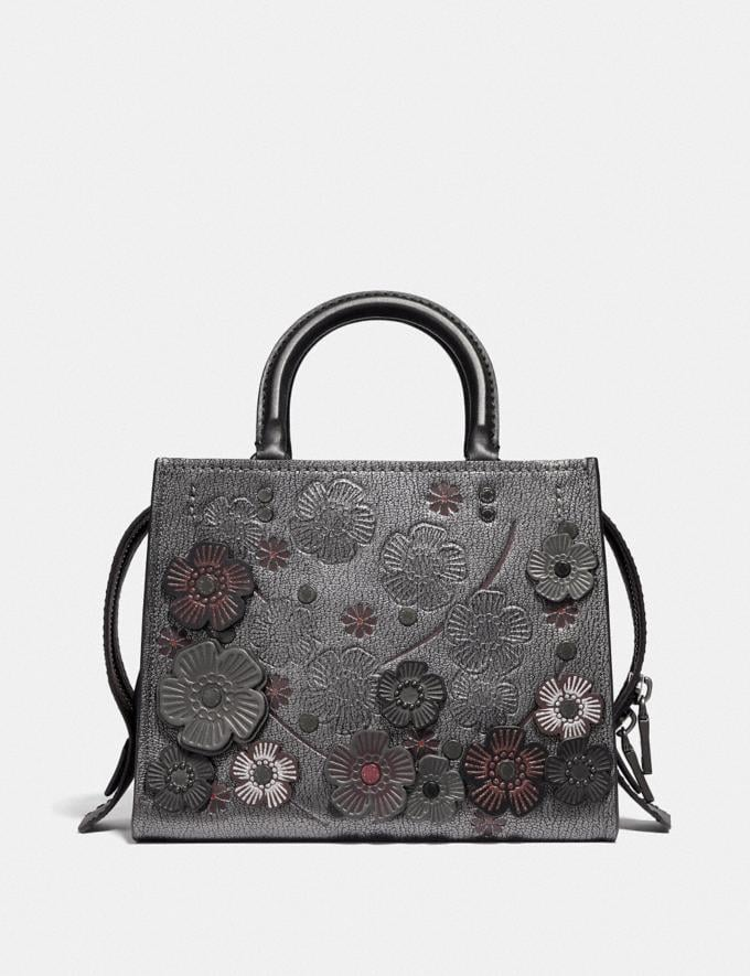 Coach Rogue 25 With Crystal Tea Rose Metallic Graphite/Pewter Women Bags Shoulder Bags Alternate View 2
