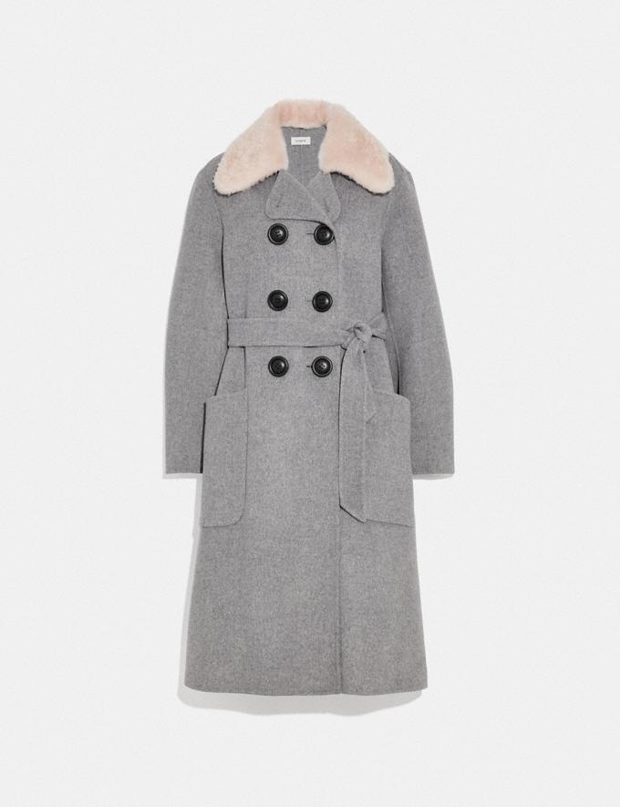 Coach Luxury Wool Trench Coat Grey Melange