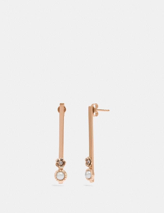 Coach Demi-Fine Sunburst Bar Earrings Grey/Rose Gold Gifts For Her