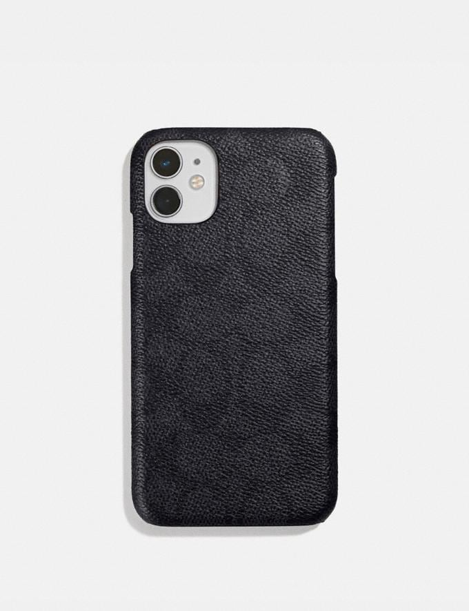 Coach iPhone 11 Case in Signature Canvas Charcoal Women Accessories Tech & Work