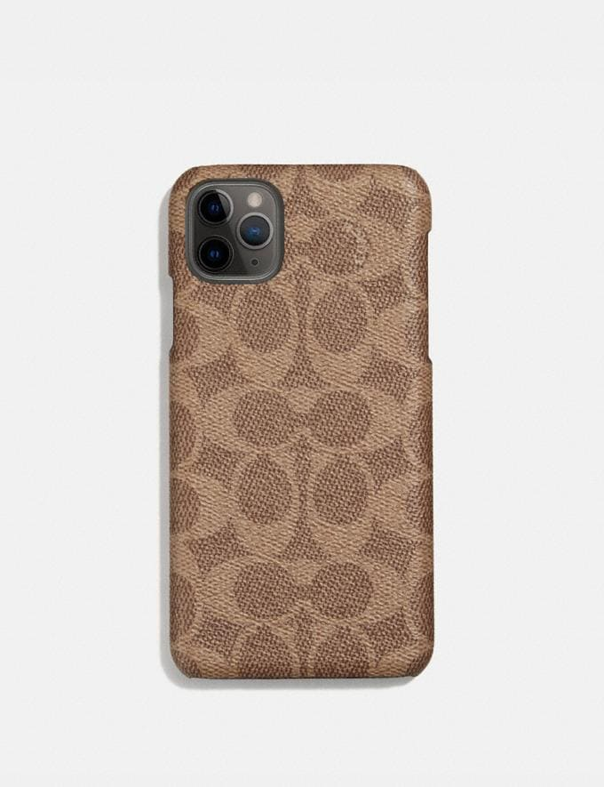 Coach iPhone 11 Pro Max Case in Signature Canvas Tan Women Accessories Phone Cases