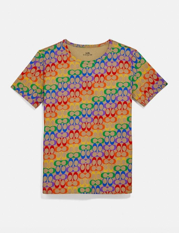 Coach Rainbow Signature T-Shirt Multi New Women's New Arrivals Ready-to-Wear