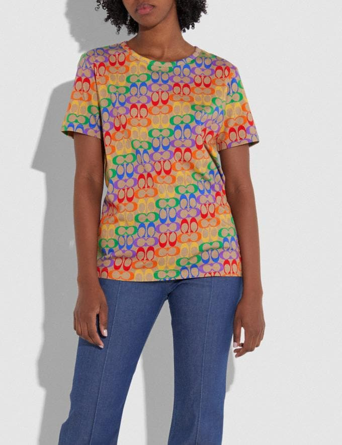 Coach Rainbow Signature T-Shirt Multi Women Ready-to-Wear Tops & T-shirts Alternate View 1