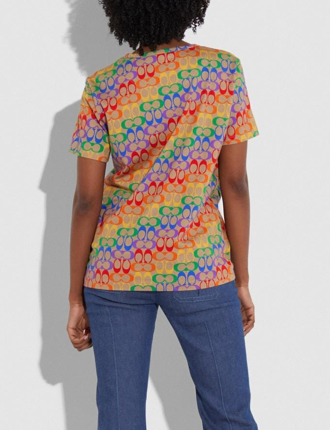 Coach Rainbow Signature T-Shirt Multi New Women's New Arrivals Ready-to-Wear Alternate View 2