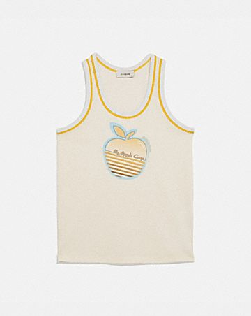 apple graphic jersey tank top