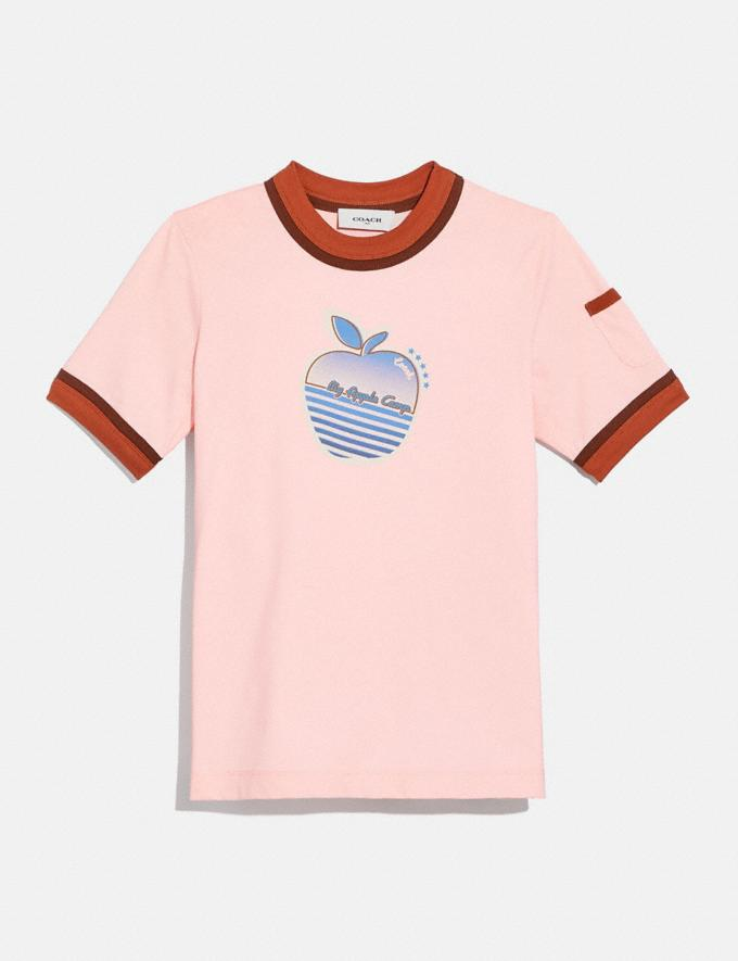 Coach Apple Graphic Double Binding T-Shirt Pale Pink