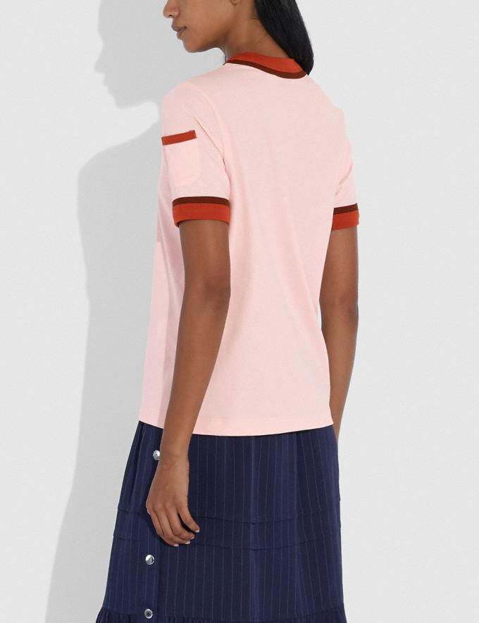 Coach Apple Graphic Double Binding T-Shirt Pale Pink  Alternate View 2
