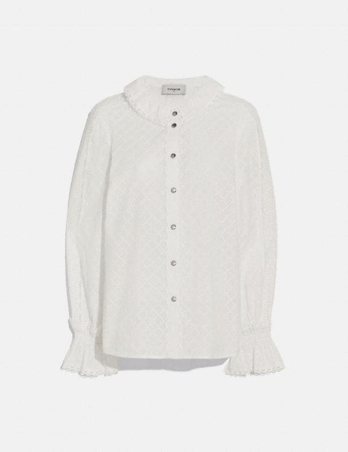 Coach Long Sleeve Broderie Anglaise Top Cream Women Ready-to-Wear Tops & T-shirts