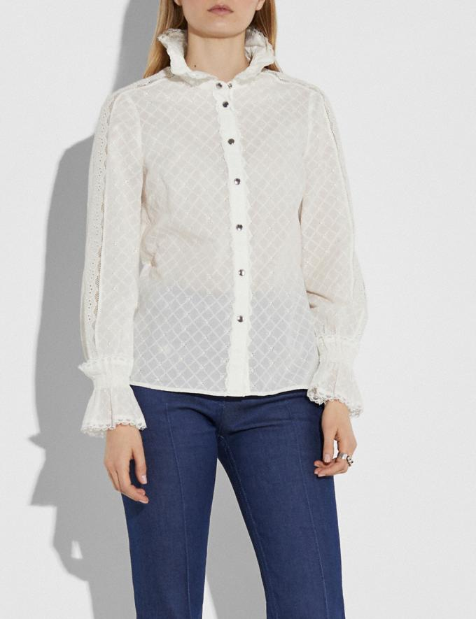 Coach Long Sleeve Broderie Anglaise Top Cream Women Ready-to-Wear Tops & T-shirts Alternate View 1