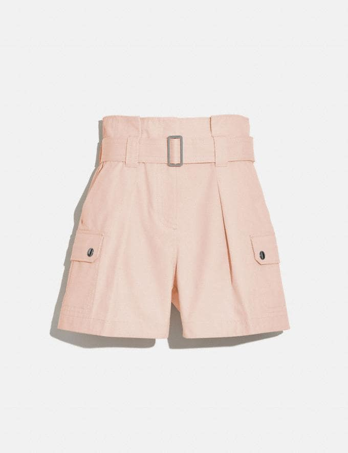 Coach Cotton Belted Shorts Peach Women Ready-to-Wear Bottoms