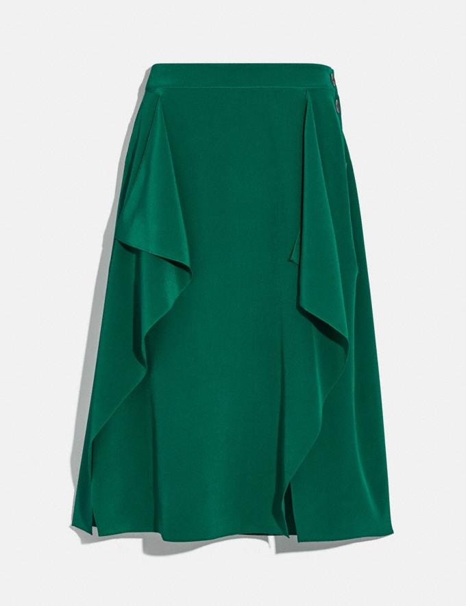 Coach Draped Midi Skirt With Side Snaps Dark Green Women Ready-to-Wear Bottoms