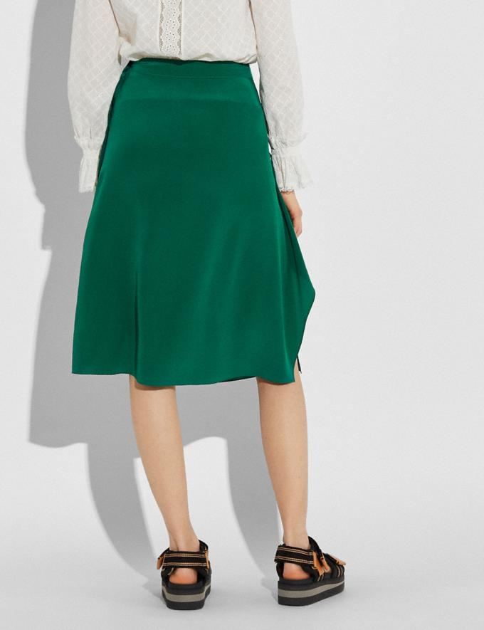 Coach Draped Midi Skirt With Side Snaps Dark Green Women Ready-to-Wear Bottoms Alternate View 1