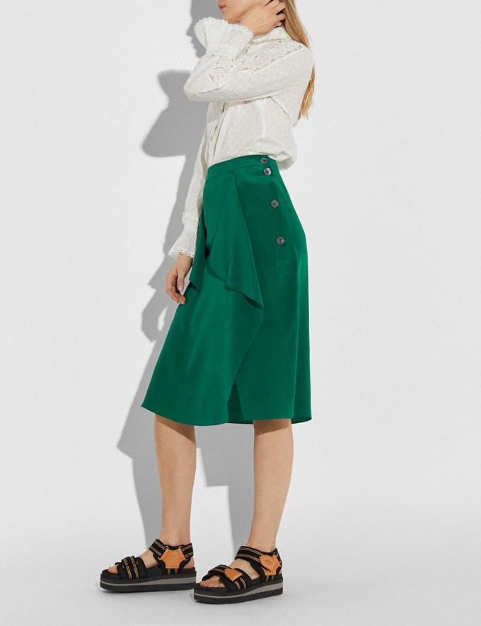 Coach Draped Midi Skirt With Side Snaps Dark Green Women Ready-to-Wear Bottoms Alternate View 2